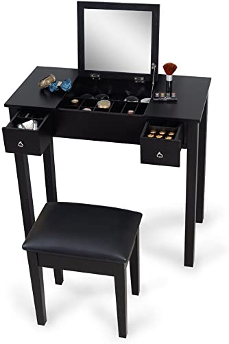 Organizedlife Makeup Vanity Table with Bench Mirror Dressing Desk