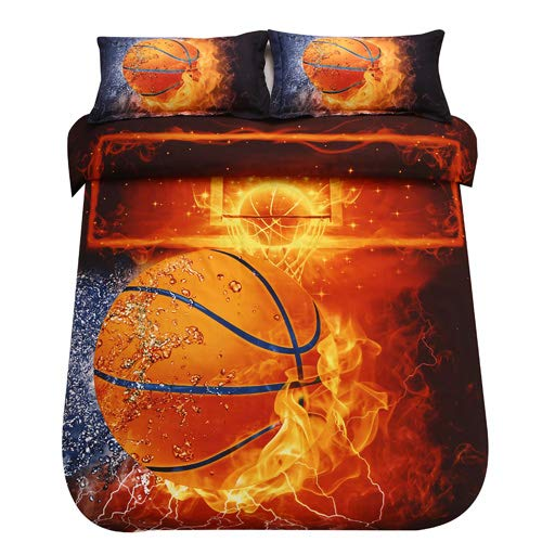 SDIII 3PC Basketball Bedding Microfiber Full/Queen Sport Duvet Cover Set for Boys, Girls and Teens