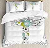 Baptism Duvet Cover Set by Ambesonne, Cross Made from Flowers Blessing Blossom newborn Catholic Party Illustration, 3 Piece Bedding Set with Pillow Shams, Queen / Full, Seafoam Avocado Green