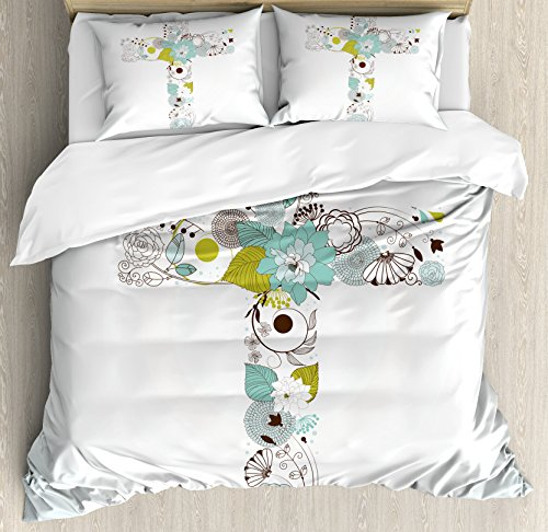 Baptism Duvet Cover Set by Ambesonne, Cross Made from Flowers Blessing Blossom newborn Catholic Party Illustration, 3 Piece Bedding Set with Pillow Shams, King Size, Seafoam Avocado Green by Ambesonne