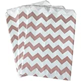 Outside the Box Papers Rose Gold and White Chevron Treat Sacks 5.5 x 7.5 48 Pack Rose Gold, White