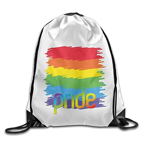 CHJOO Rainbow Lesbian Gay Pride LGBT Drawstring Bags Ball White Backpack Sport Bag For Men & Women School Travel Backpack For Teens College ()