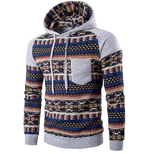 Veste Rétro Sweatshirt Tops Capuche Sweats Air Gris Bohème Manches De Longues Manteau Adeshop Plein Hommes À Vêtements Hwqvg