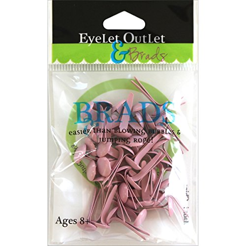 EYELET OUTLET Round Brads (70 Pack), 8mm, Pastel Pink ()