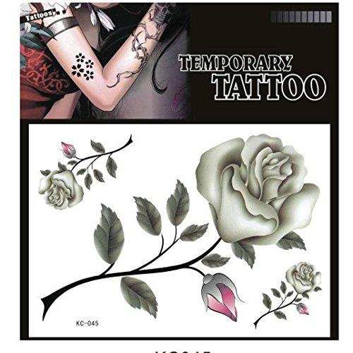 SYZ Beauty Waterproof Temporary Tattoos Pretty Grey Rose Tattoos