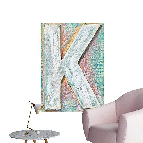 Alexandear Letter K Self Adhesive Wallpaper for Home Bedroom Decor Scratched Looking Typographic Element Uppercase K Printing Theme Rough Vintage Bedroom Bedside Wall Multicolor W8 x H10