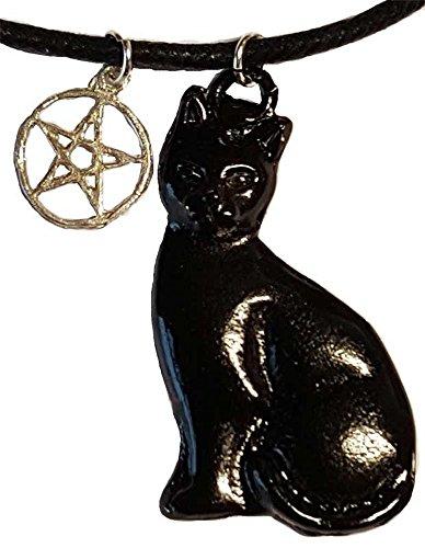Familiar Black Cat with Five Point Power Pentacle Amulet Necklace