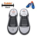Coolnice® No Tie Shoelaces for Adults bigger size DIY 16pcs - Environmentally safe silicone - Lazy Shoestrings - Color of Black