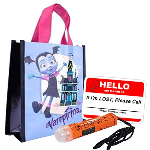 Vampirina Kids Reusable Toddler Sized Halloween Trick Treat Candy Loot Bag!! Plus Bonus Safety First Sticker & Mini Halloween Flashlight Necklace! ()