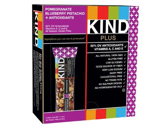 KIND Bars, Pomegranate Blueberry Pistachio + Antioxidants, Gluten Free, 1.4 Ounce Bars, 12 Count