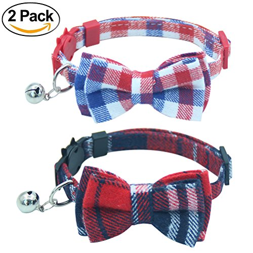 OFPUPPY 2 Pack/Set Plaid Cat Collar Breakaway with Cute Bowtie & Bell for kitty, Adjustable 7.8-10.2