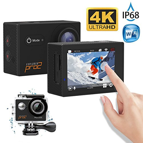 MGcool Explorer Pro2 4K Ultra HD Action Camera, 2.0 Inch Touch LCD Screen,170° Wide Angle Lens, 30m Waterproof Action Cam, Sports DVR for Diving Skiing with Accessories Kit, 100% (Digital Camera Explorer Kit)