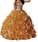 BoShi Women's Sweetheart Crystal Ruffled Sweet 15 Evening Gowns Quinceanera Dresses 8 US Gold