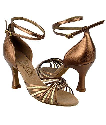 Zeer Fijne Ballroom Latin Tango Salsa Dansschoenen Voor Vrouwen S1001 3 Inch Hak + Opvouwbare Borstel Bundel Gouden Schaal & Donkerbruin Goud