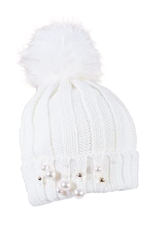 63a223a54a4 IMTD Ladies Warm Knitted Winter Fake Faux Fur Bobble Beanie Ski Hat Womens  Turn Up Fur