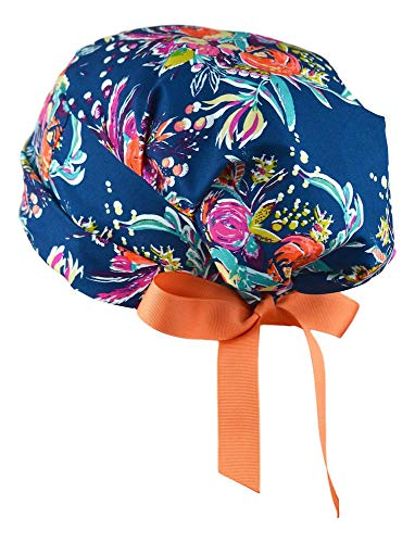 Scrub Blue Sky Hats - Womens Surgical Scrub Hat Adjustable Medium to Large with Ribbon Ties (Zinnias)