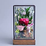 Party decorations,Wedding decorations Eternal flower gift box Flowers Fresh rose Eternal Natural flower material Special Christmas day-pink 12x13x24cm(5x5x9inch)