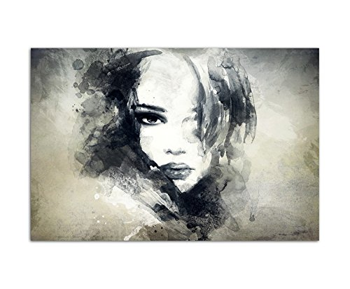 120x80cm - WANDBILD Handmalerei Gesicht Frau Mädchen abstrakt - Leinwandbild auf Keilrahmen modern stilvoll - Bilder und Dekoration
