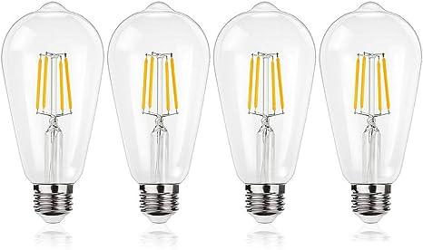 Amazon Com St64 Vintage Led Edison Bulb 4w Led Filament Light Bulb 40 Watt Incandescent Equivalent 400lumen Natural White 4000k Not Dimmable E26 Medium Base Decorative Antique Lamp For Home Bedroom 4 Pack Home Improvement