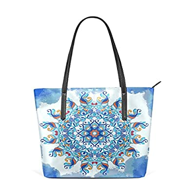 free shipping Womens Leather Top Handle Shoulder Handbag Blue Pattern Large Work Tote Bag