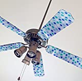 Fancy Blade Ceiling Fan Accessories Blade Cover Decoration, Blue Polka Dots