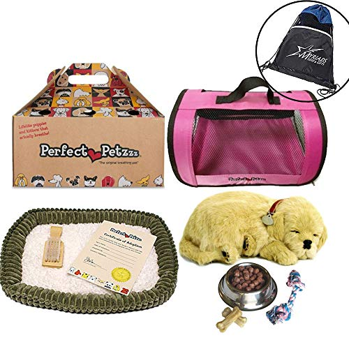 (Perfect Petzzz Golden Retriever Plush with Pink Tote For Plush Breathing Pet, Dog Food, Treats, Chew Toy and Drawstring Bag)