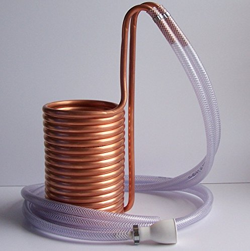 Copper wort chiller with 2 x 200 cm hoses - with push on tap connector Yanik Brewing Supplies