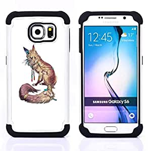 - fox white nature animal red minimalist - - Doble capa caja de la armadura Defender FOR Samsung Galaxy S6 G9200 RetroCandy
