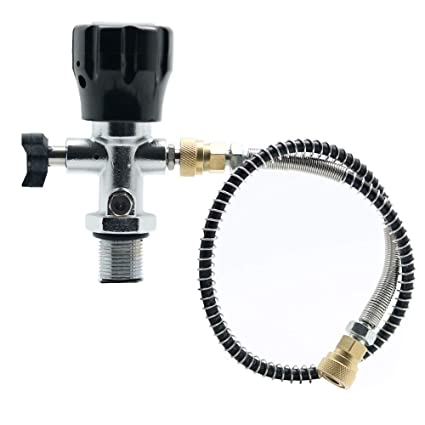 IORMAN Paintball CO2 Tank Regulator & Fill Station, 300bar/4500psi High  Pressure, 7/8-14 UNF Thread, DIN Valve Gauge with Hose Charging Fittings  for