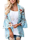 Nekosi Ladies Casual Floral Bell Sleeve Hollow Out Short Length Lace Open Front Cardigan Light Blue XXL