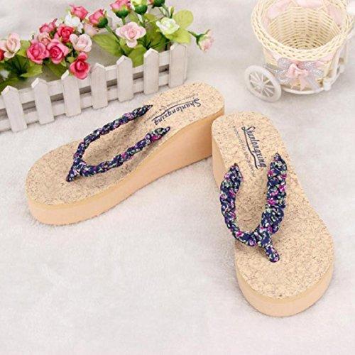 Tongshi Verano Bohemia floral dulce Sandalias sandalias de los fracasos del clip del dedo del pie zapatos de playa Azul