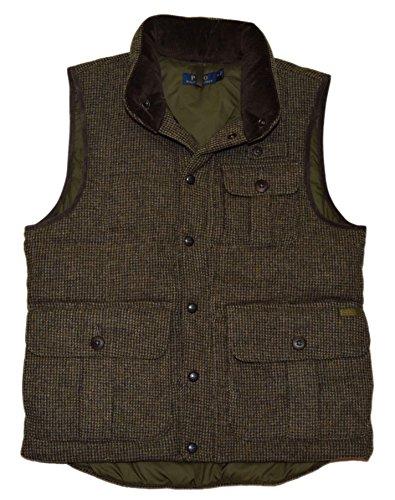 Ralph Lauren Wool Vest (RALPH LAUREN Polo Mens Quilted Down Puffer Wool Jacket Cargo Vest Brown Small)