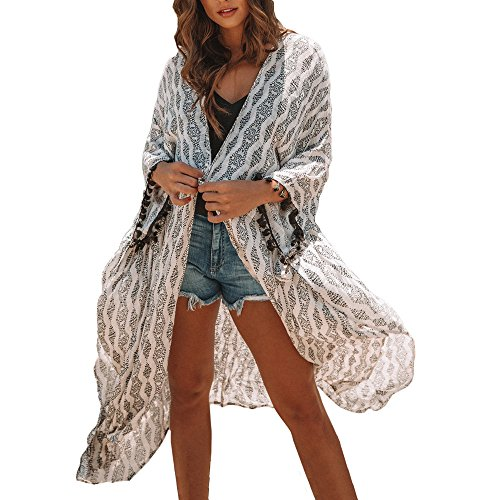 Cardigan Womens Tassel Chiffon Long Bikini Swimwear Beach Smock