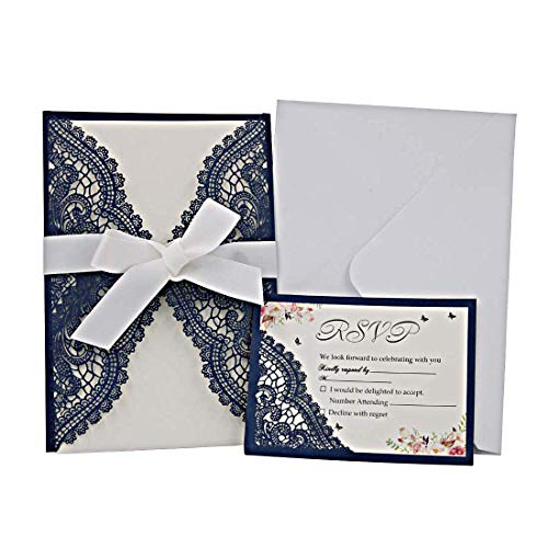 Hophen 20pcs Wedding Invitations Laser Cut Cards with RSVP Cards and Envelops Stikers Ribbons Kit for Bridal Shower Engagement Birthday Baby Shower Graduation Cardstock (Dark Blue)