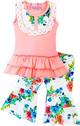 Angeline Toddler Little Girls Spring Summer Floral Peach Capri Set 4T/L