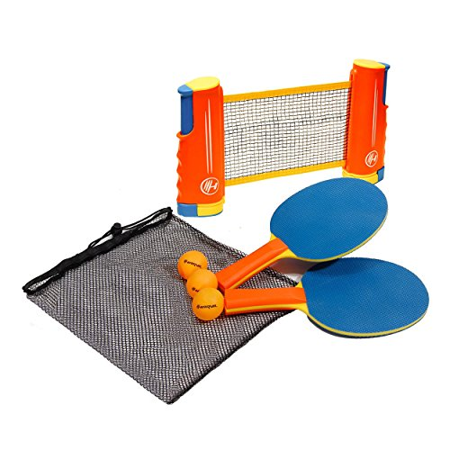 Lowest Price! Harvil Portable and Retractable Table Tennis Net Set To-Go with FREE Balls, Rackets, a...