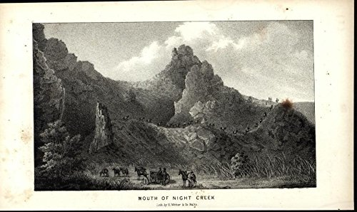 (Mouth of Night Creek Military Reconnaissance 1848 antique lithograph)