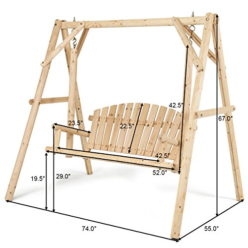 TANGKULA Wooden Porch Swing Outdoor Patio Rustic Torched Log Curved Back Porch Swing and A-Frame Set Wooden Swing Bench