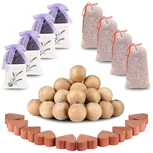 USEVEN Natural Cedar Blocks for Clothes Storage, 100% Aromatic Storage Value Pack (4 Lavender Sachets, 4 Cedar Sachets, 10 Cedar Blocks, 30 Camphor Wood Root Balls, 1 Gift) - Lavender Cedar Blocks