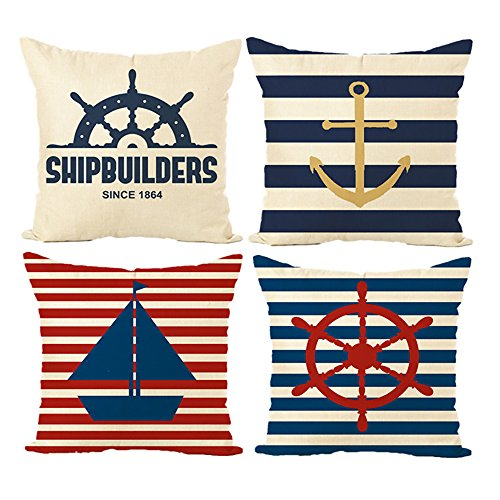 MIULEE Pack of 4 Decorative Nautical Sailing Outdoor Pillow Cushion Cover Set Cotton Linen for Sofa Bedroom Car 18 x 18 Inch 45 x 45 cm Anchor Ship ()