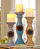Set of 3 Rustic Vintage Style Shabby Chic Candle Holder Home Accent Decoration