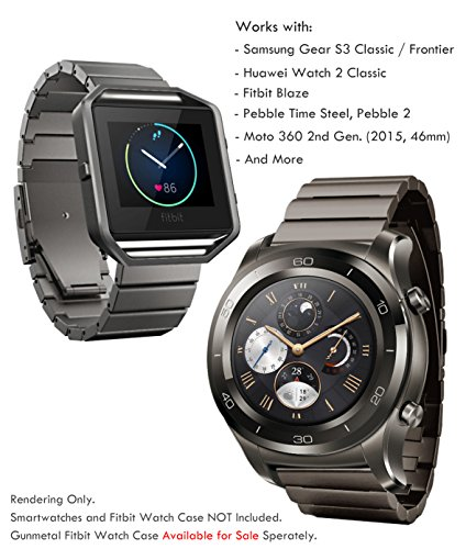 Truffol 22mm Metal Link Band for Samsung Gear S3 Frontier & Classic, Fitbit Blaze, Huawei Watch 2 Classic - Quick Release Stainless Steel Strap Wristband (Titanium Grey)](Titanium Watch Bands)