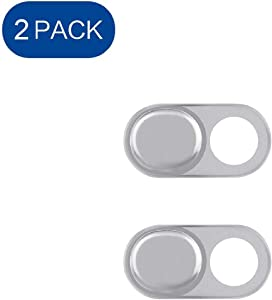 Webcam Cover, ELifeApply Ultra-ThinLaptop Camera Cover Slide Blocker, Camera Security Cover Webcam Shield for Laptop, Desktop, Smartphone, iPhone, PC, Protecting Your Privacy Security - 2 Pack Silver