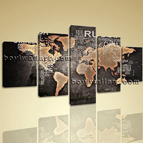 Amazon.com: Huge Modern Contemporary Abstract World Map HD