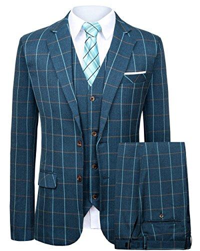 Hanayome Men's Business Classic Plaid 2 Buttons Blazer Tux Separate Stylish Suits SI110 (Blue,50)