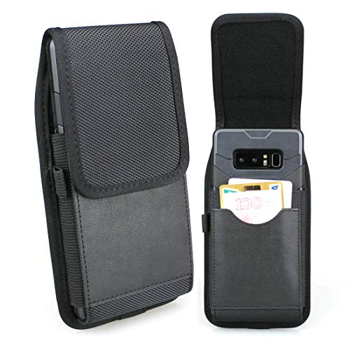 aubaddy Vertical Nylon Belt Pouch with ID Card Holder Cell Phone Holster Case w Belt Loop for Samsung Note 8/Note 9, Galaxy S8 Plus/S9 Plus/S10+ Plus - Fit with a Thin Case (Black)