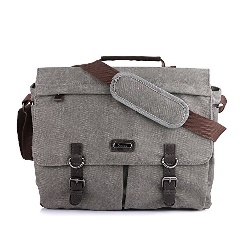 Oxa Spacious Canvas Messenger Bag (up To 15.6 Inch), Padded Laptop Compartment And Shoulder Strap Wi