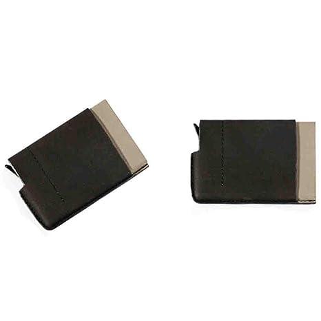Nombre de la empresa titular de la tarjeta funda tipo libro de crédito, color negro