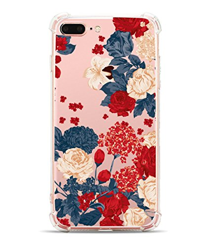 iPhone 8 Plus Case, iPhone 7 Plus Case, Hepix Soft Clear TPU Vintage Rose Peony Flowers Floral Print Protective Bumper Cover Case for iPhone 7 Plus (2016) / iPhone 8 Plus (2017) [5.5 inch]