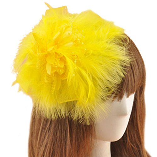 [Fascinator Hair Clip Feather Headpiece Cocktail Party Wedding Hair Accessories (Yellow)] (Cosplay Costume Making)